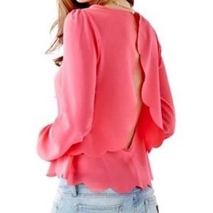 GUESS Scalloped Back Blouse in Hot Pink